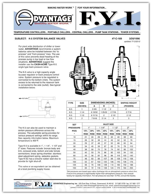K-5 System<br />Balance Valves