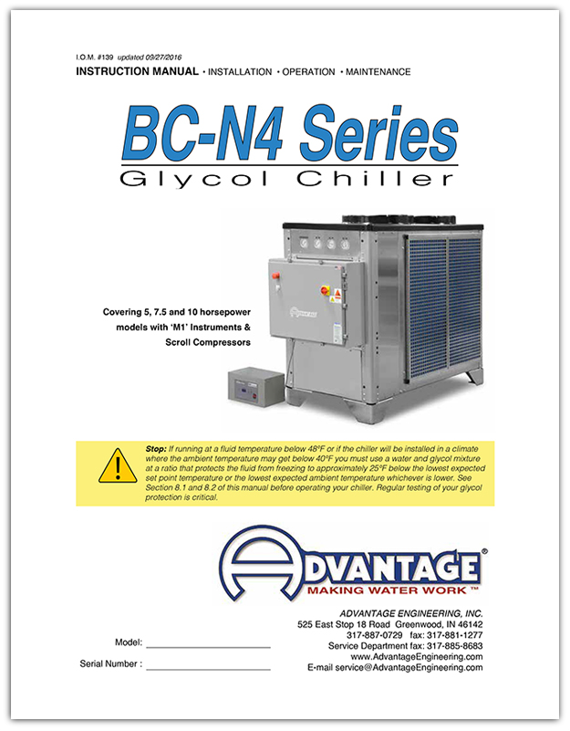Download the Operations Manual for BC-N4 Series Glycol Chillers