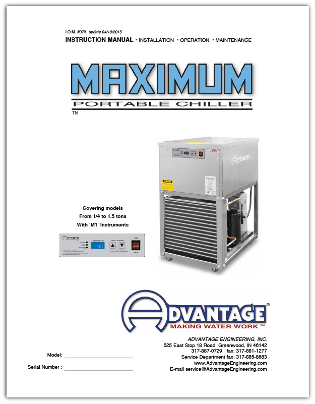 Manual for Maximum Water Chillers from .25 - 1.5 Tons Air-Cooled